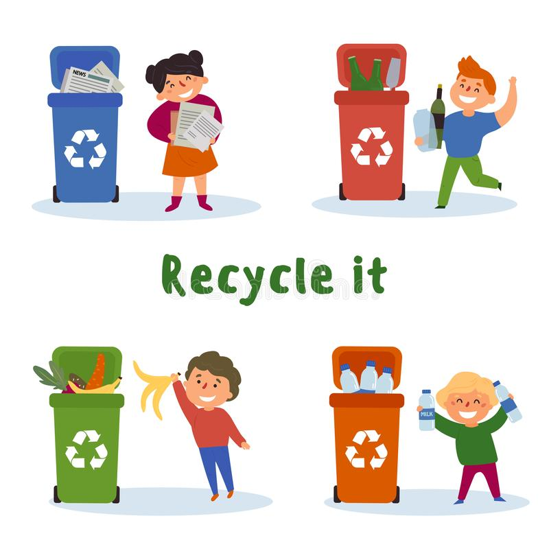 Children gathering paper, glass, plastic, recycle vector illustration
