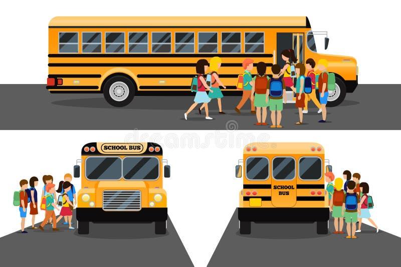 Children get on school bus stock illustration