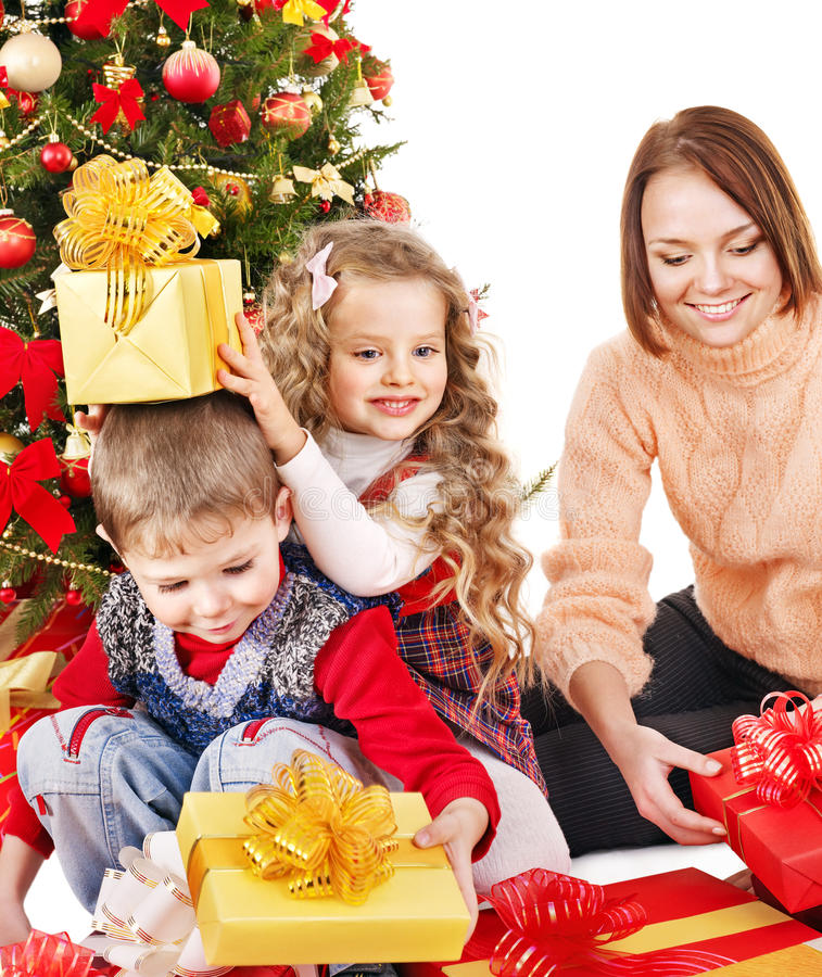 Download Children With Gift Box Near Christmas Tree. Stock Photo - Image: 27569166