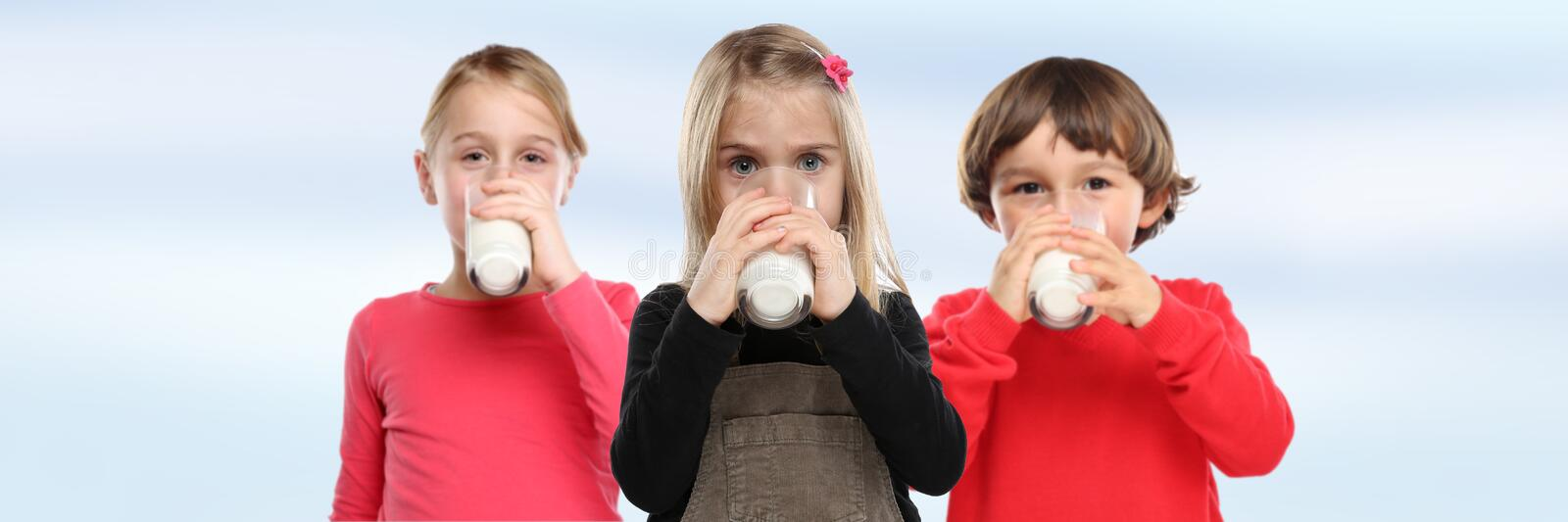 Children girl boy drinking milk kids glass banner copyspace heal. Children girl boy drinking milk kids glass banner copyspace copy space healthy eating royalty free stock photography