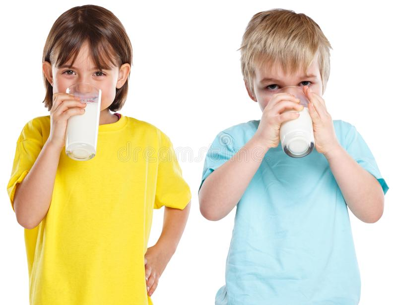 Children girl boy drinking milk kids glass healthy eating isolated on white royalty free stock image