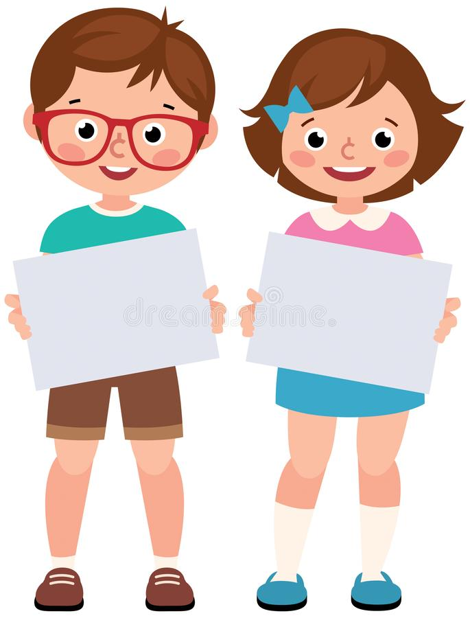Children girl and boy holding a blank sign paper. On a white background vector illustration