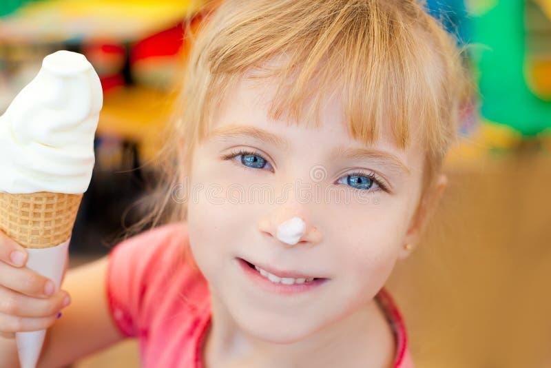Children girl happy with cone icecream. Smiling royalty free stock photo