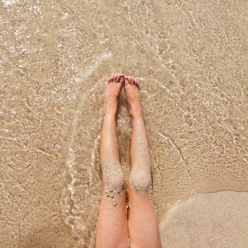 Children Girl Legs In Beach Sand Shore Stock Photography