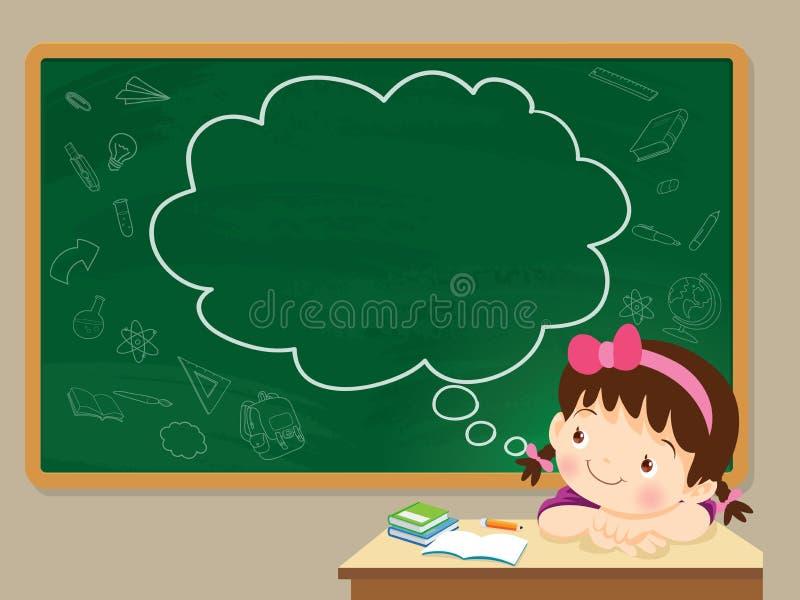 Children girl thinking and chalkboard royalty free illustration