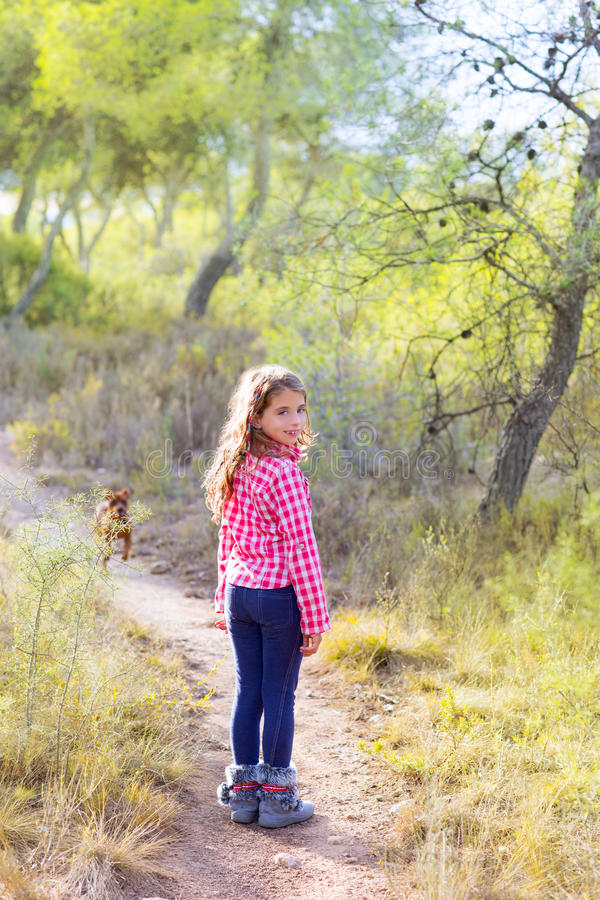 Children girl walking in the pine forest with dog stock photography
