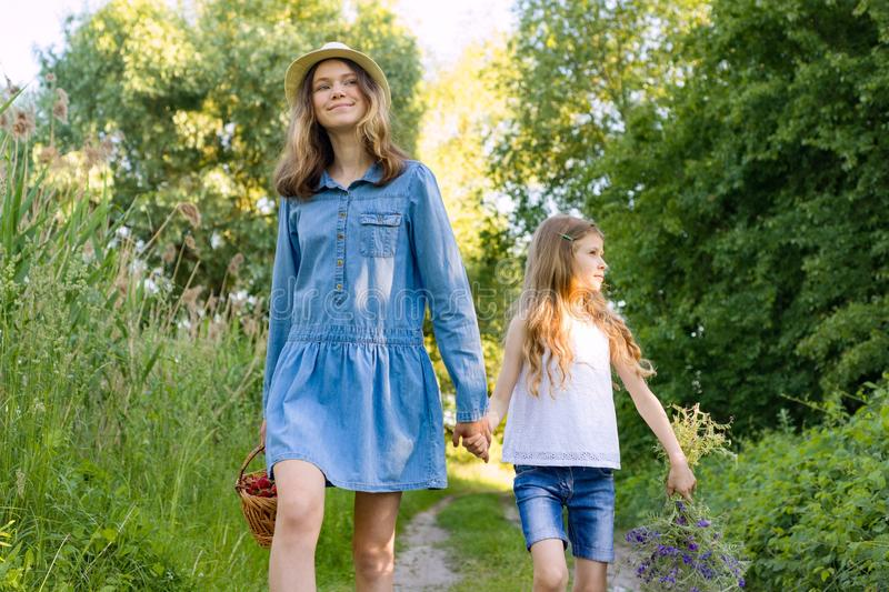 Children girls on forest road holding hands. Sunny summer day, girl holding basket with berries stock photography