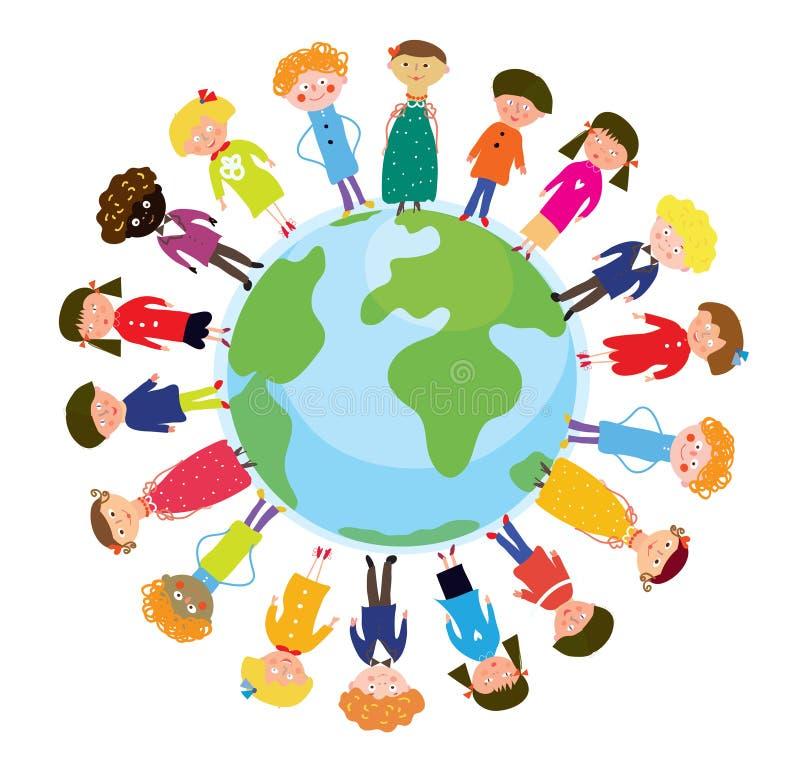 Children on the globe international funny vector illustration