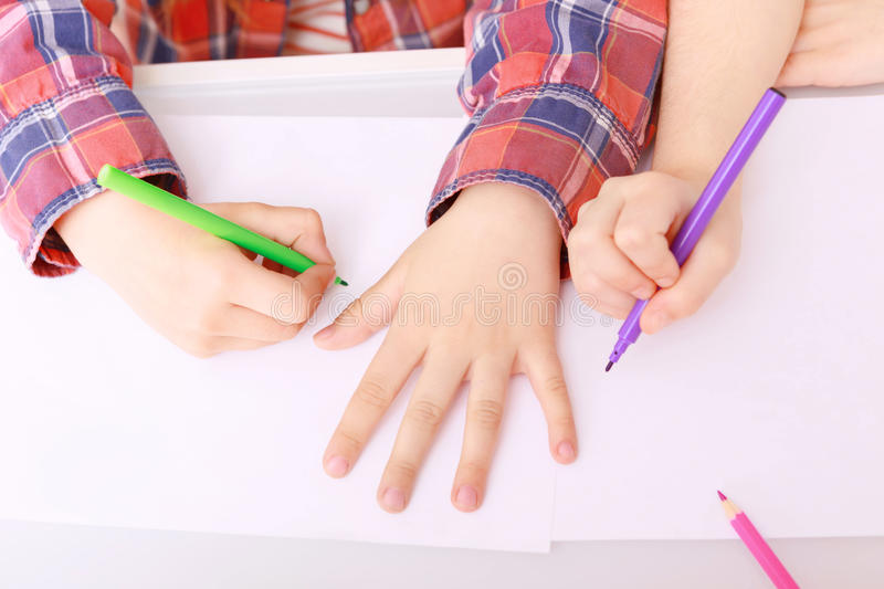 Children going to draw royalty free stock image