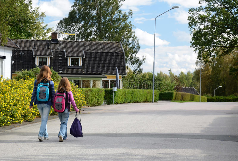 Children going to school royalty free stock photo