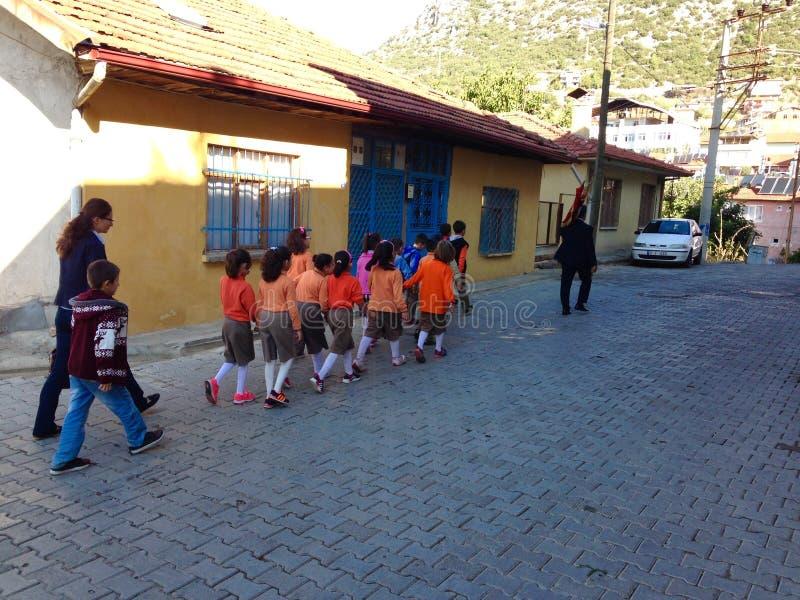 Children going to school stock image