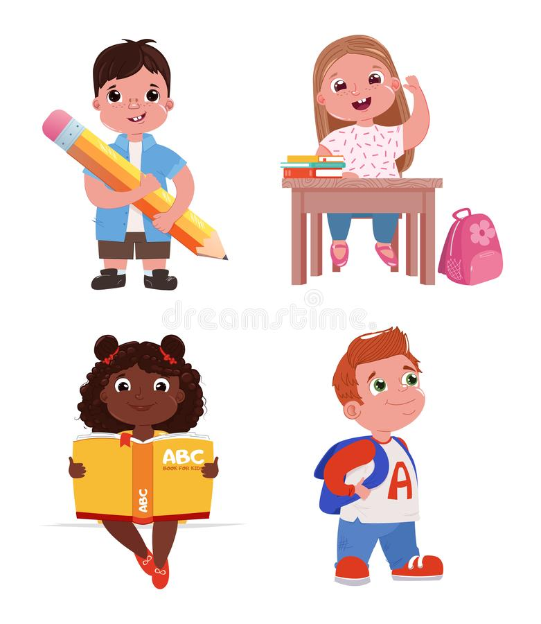 Children are going to school. The girl is studying at the lesson. A boy with a book and a pencil. vector illustration