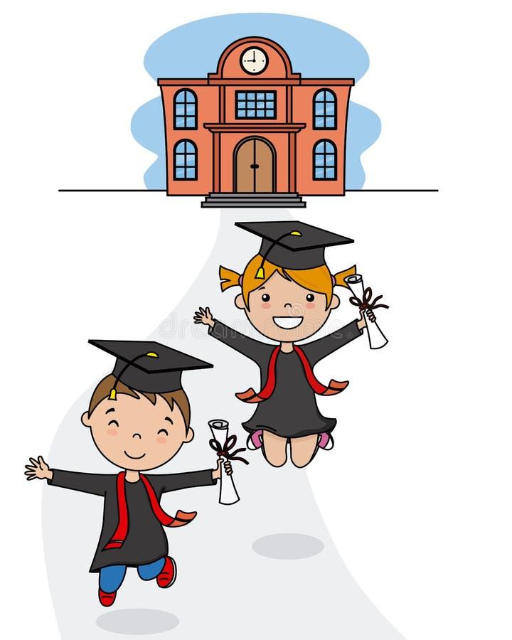 Children in graduation suits leaving school royalty free illustration
