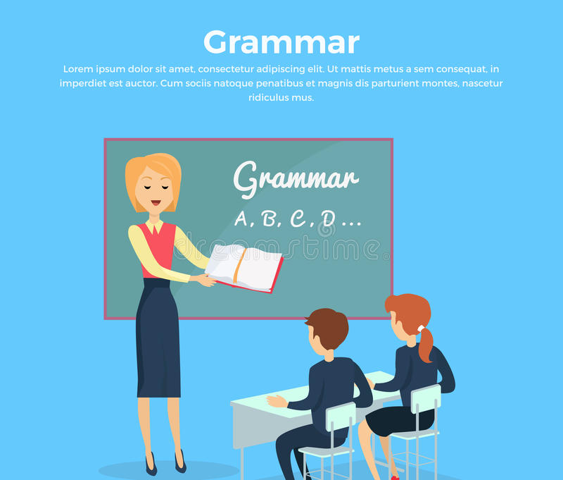 Children gramatyki nauczania ilustracja royalty ilustracja