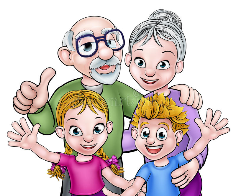 Children and Grandparents Cartoon Characters. Cartoon grandchildren with their grandparents grandfather and grandmother vector illustration