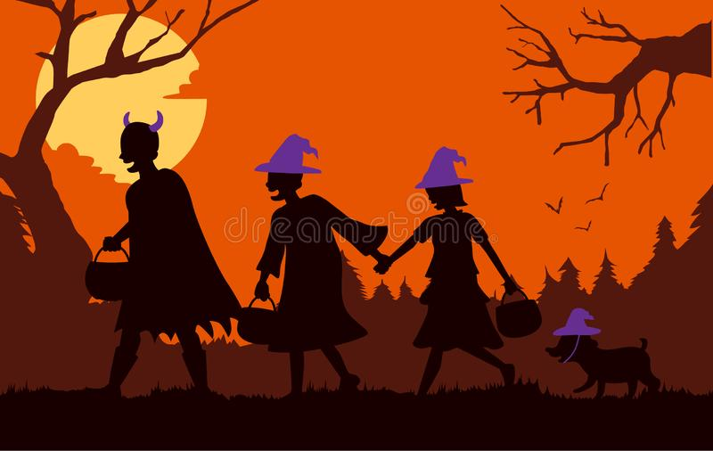 Children group and dog wearing fancy clothes and hat as witch and devil carrying a pot to solicit gifts at Halloween night. stock image