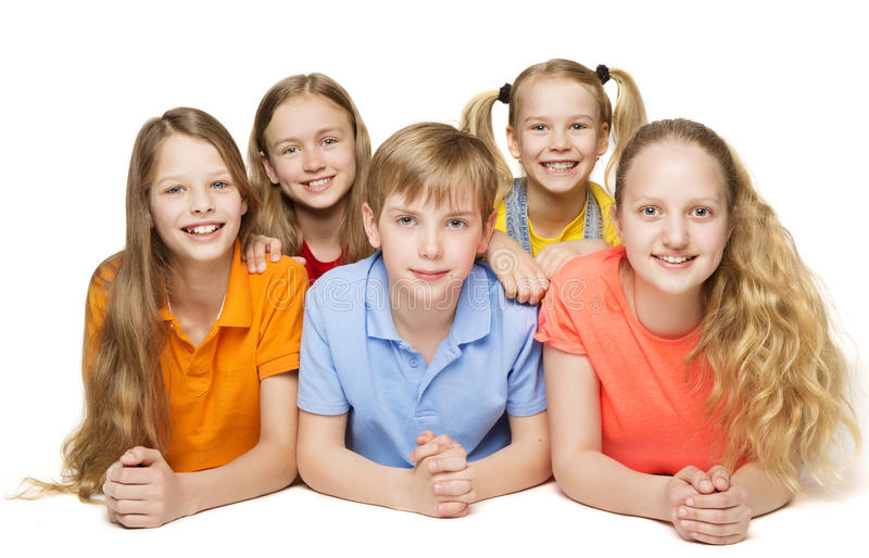 Children Group, Five Kids Girls and Boy Lying over White stock image
