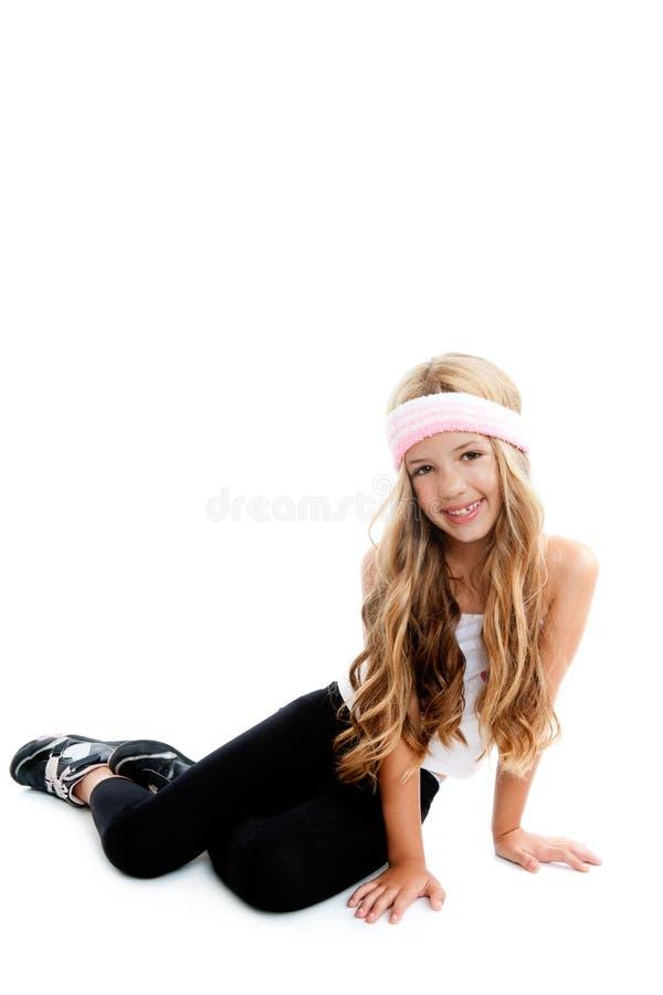 Download Children Gym Little Blond Girl Posing In Studio Stock Image - Image: 20983695