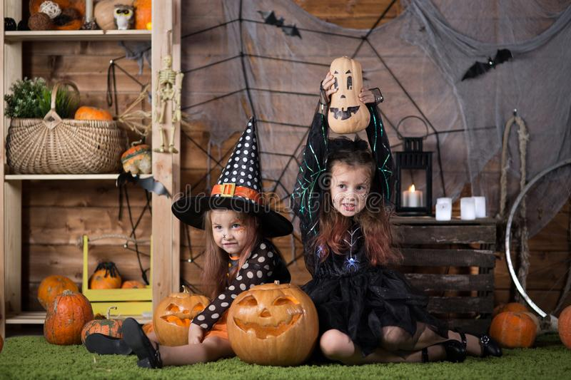 Children in Halloween costumes royalty free stock images
