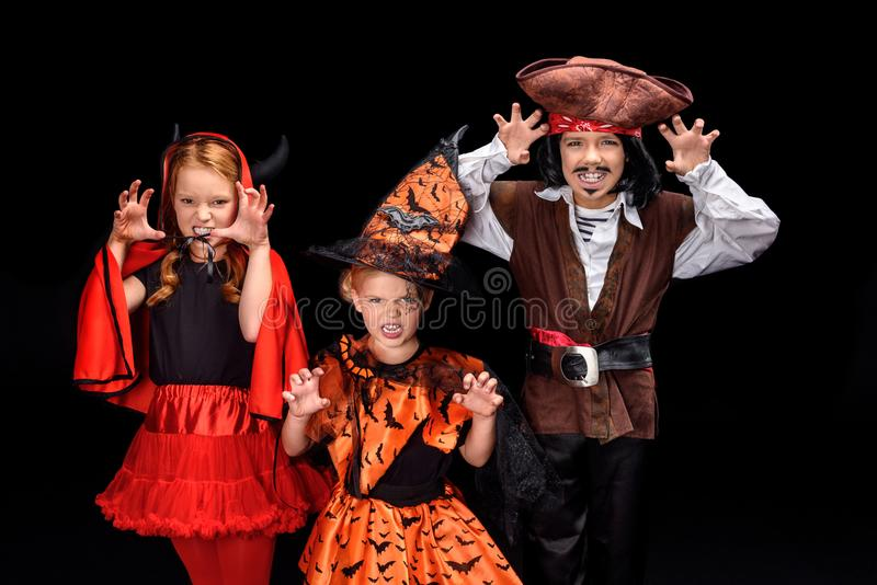 Children in halloween costumes royalty free stock photography