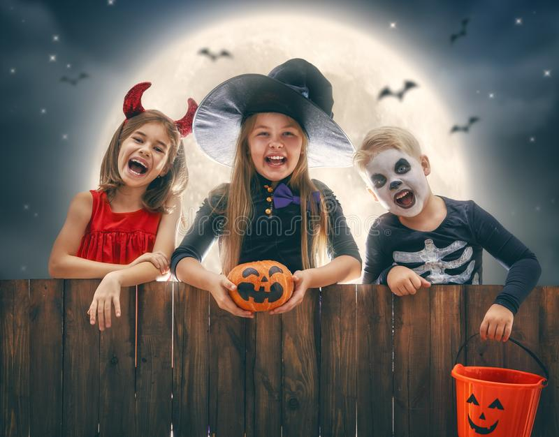Children on Halloween royalty free stock photography