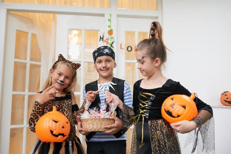 Children at Halloween party royalty free stock photo