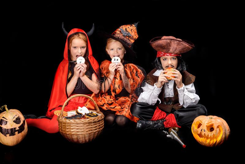 Children with halloween sweets royalty free stock photo