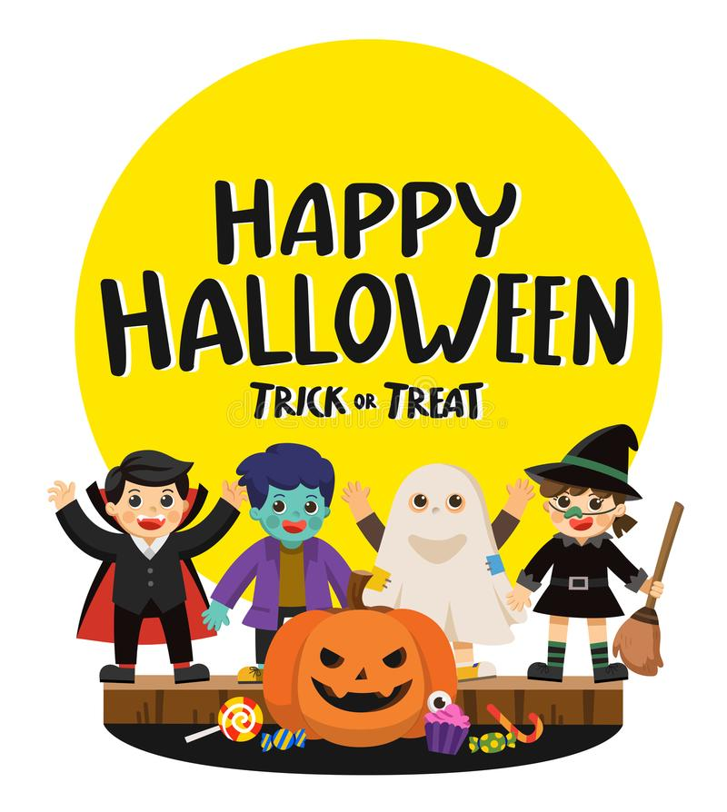Children in Halloween and Trick or Treat Party. vector illustration