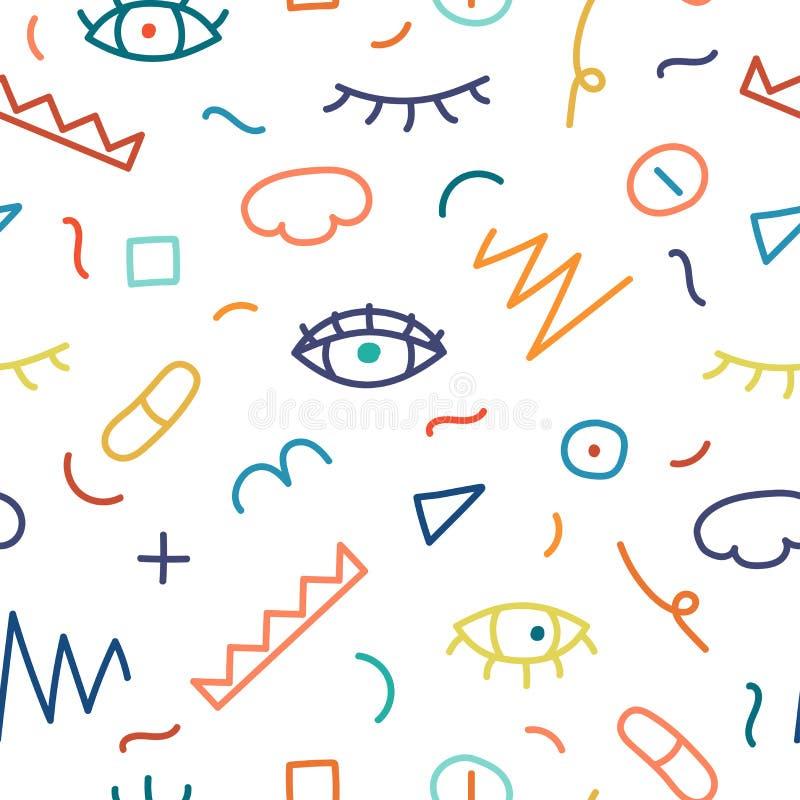 Children hand drawn seamless pattern. Fashion 80-90s royalty free illustration