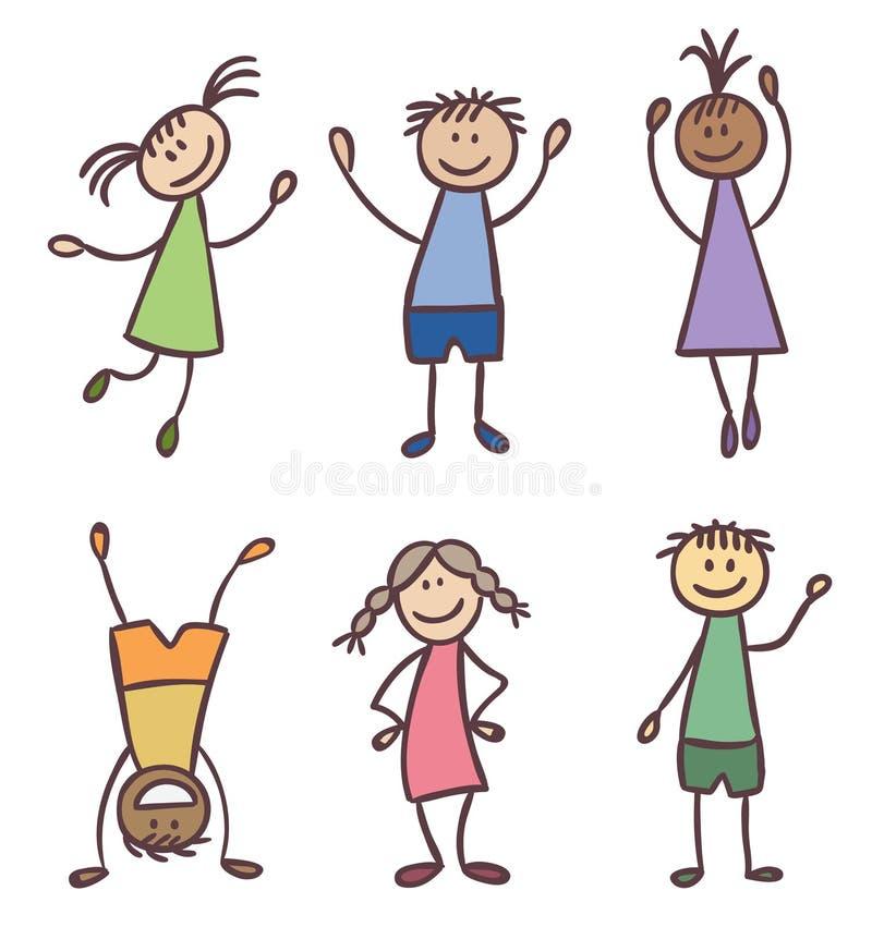 Children hand drawn vector set vector illustration