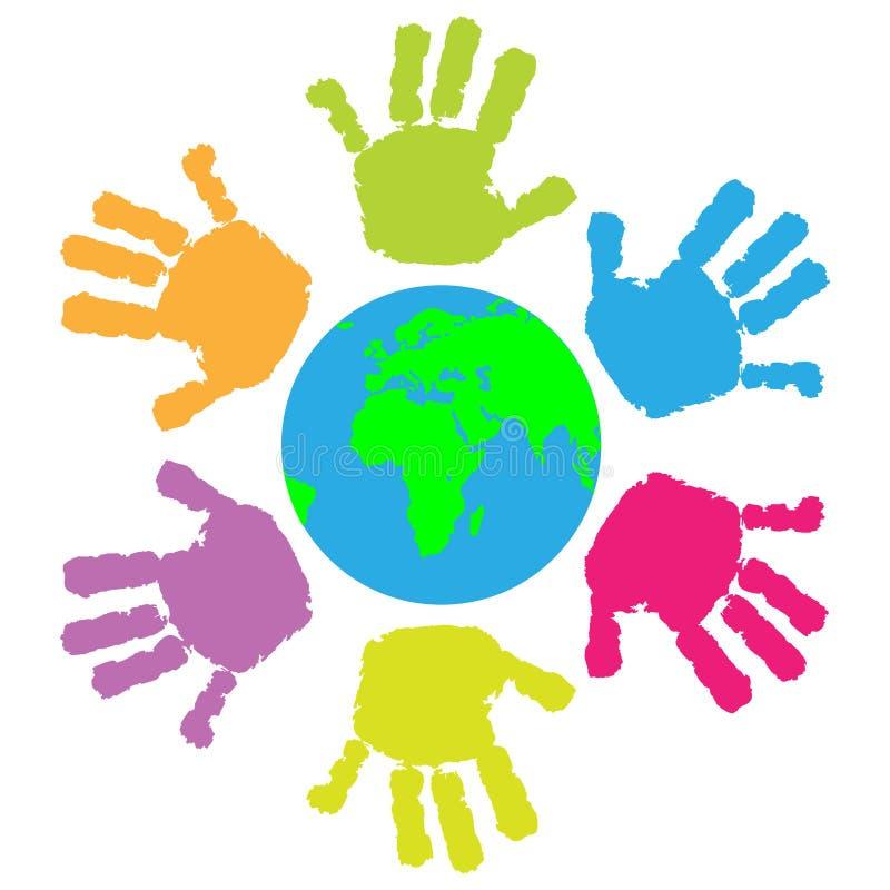 Children hand print around the Earth vector illustration