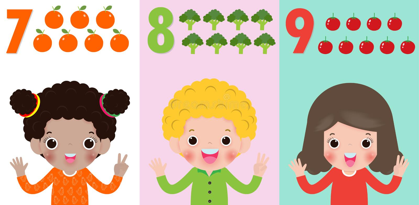 Children hand showing the number Seven, eight, nine , kids showing numbers 7,8,9 by fingers. Education concept, Kids learning vector illustration
