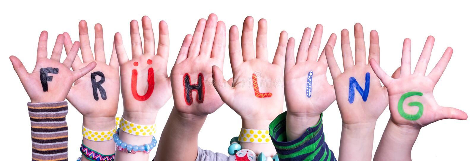 Children Hands Building Fruehling Means Spring, Isolated Background stock photography