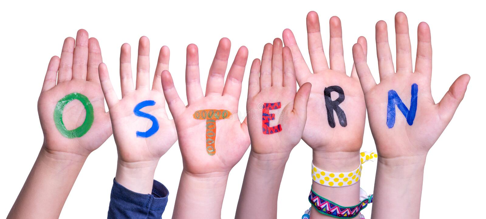 Children Hands Building Ostern Means Easter, Isolated Background stock photo