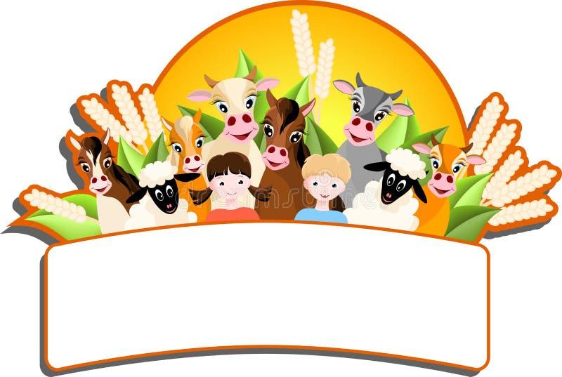 children and happy farm animals stock vector illustration of shine rh dreamstime com Free River Vector Free Farm Art Pictures