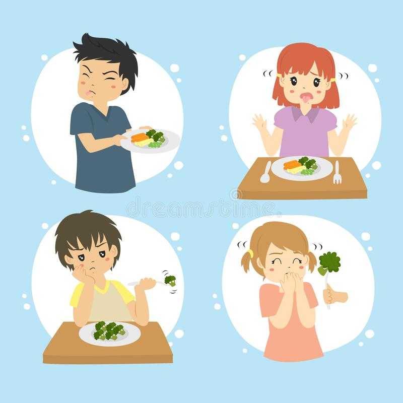 Children Hate Vegetables Vector Collection. Set of kids refuse to eat vegetables. Children hate vegetables vector set vector illustration