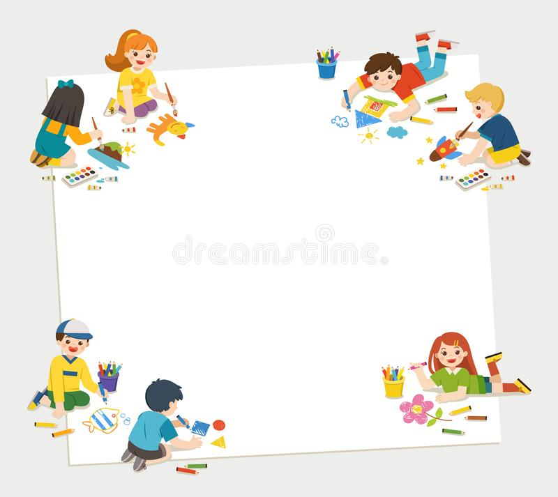 Children have fun and ready to get painting together.C stock illustration