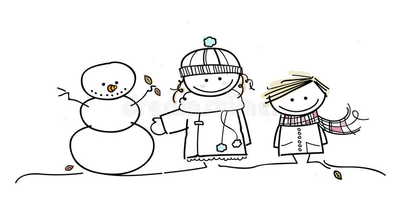 Children have fun in wintertime stock photo