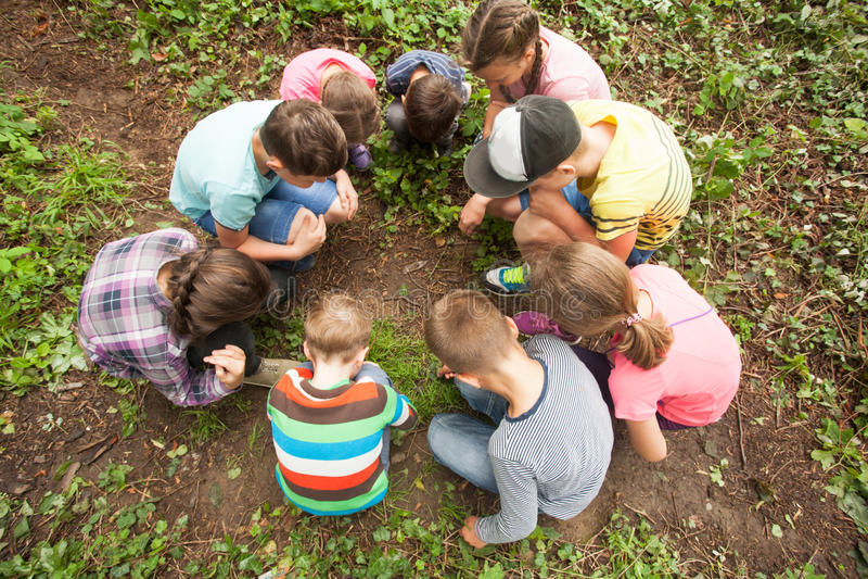 Children having fun outdoor stock photo