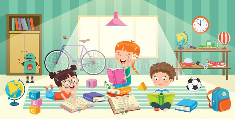 Children Having Fun In A Room. Eps 10 vector illustration