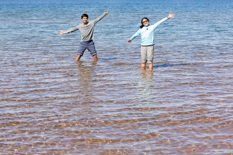 Children Having Fun in Shallow Coastal Waters of a Lake royalty free stock photography