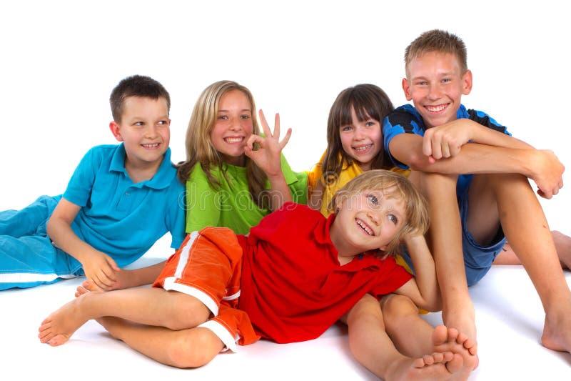 Children having fun in studio stock photos