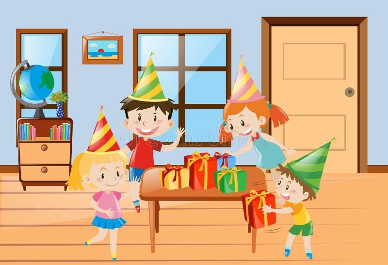 Children having party at home stock illustration