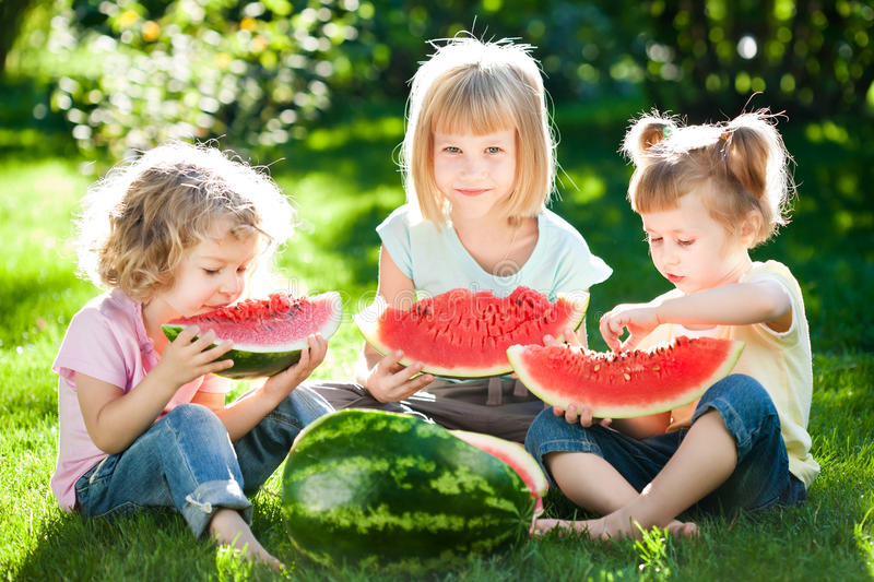 Children having picnic royalty free stock images
