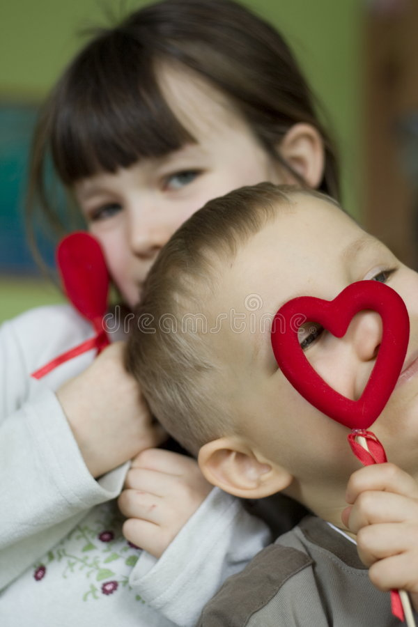 Download Children with hearts stock image. Image of face, girls - 506757