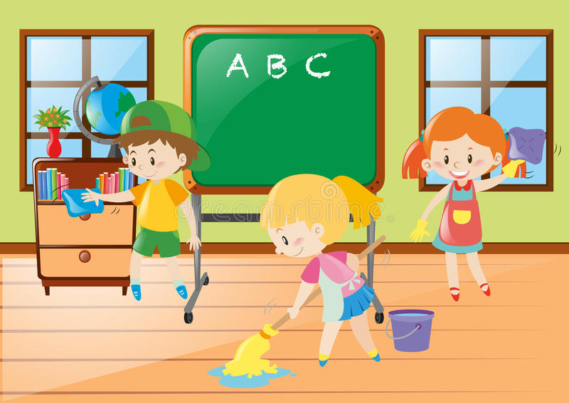 Children help cleaning classroom vector illustration