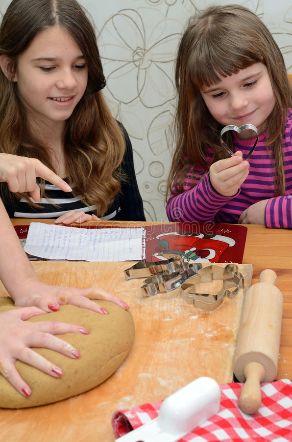Children Help With Making Cake Stock Photos