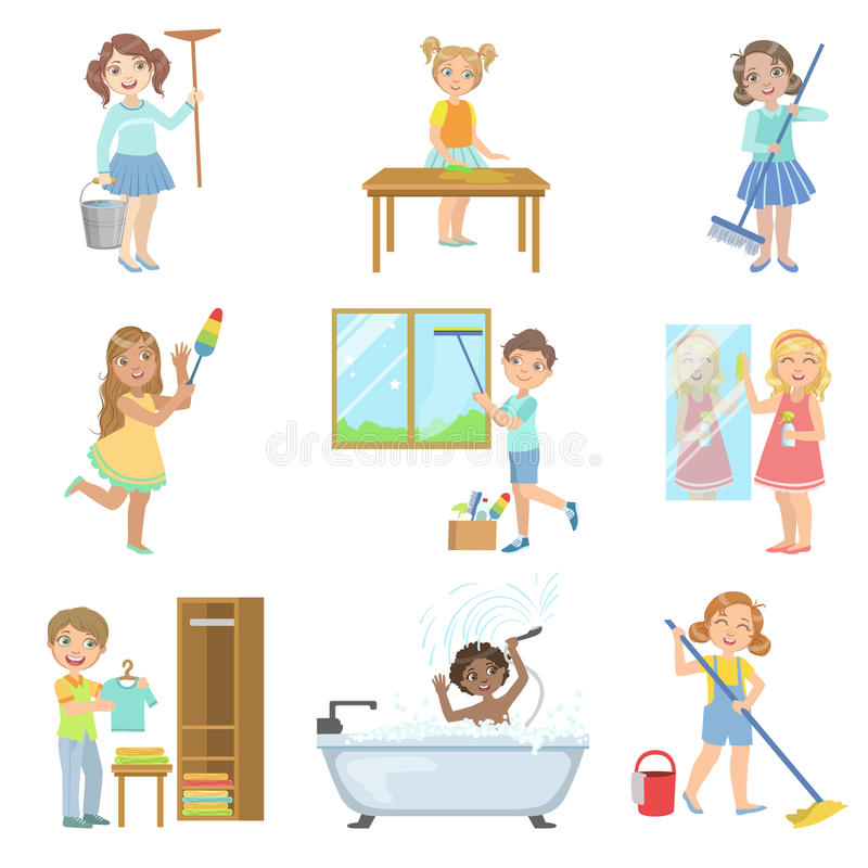 Children Helping With Spring Cleaning royalty free illustration