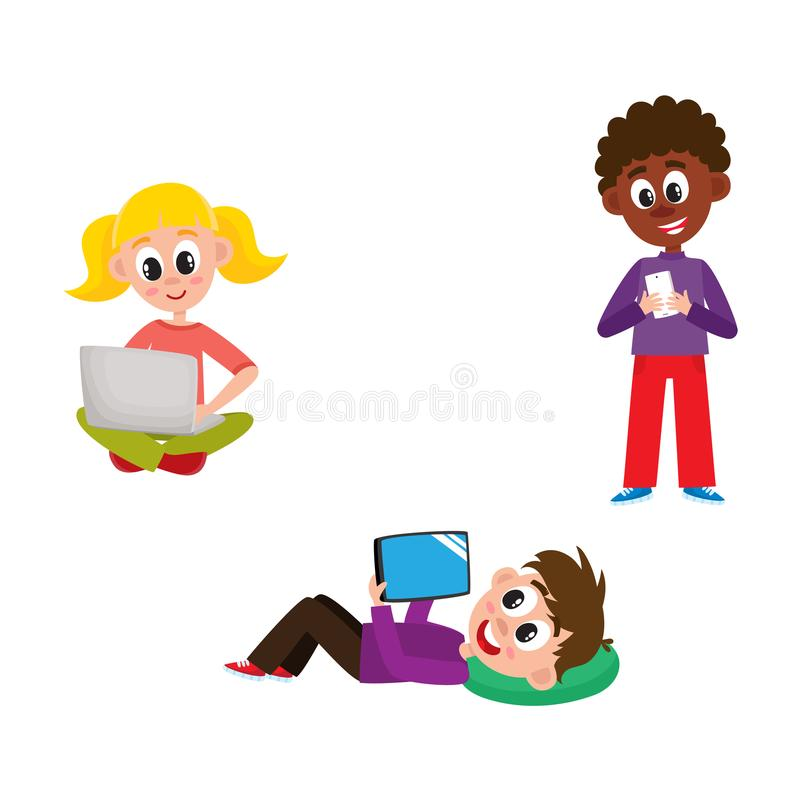 Children with hi-tech gadgets set - little kids with laptop, mobile phone and tablet isolated on white background. royalty free illustration