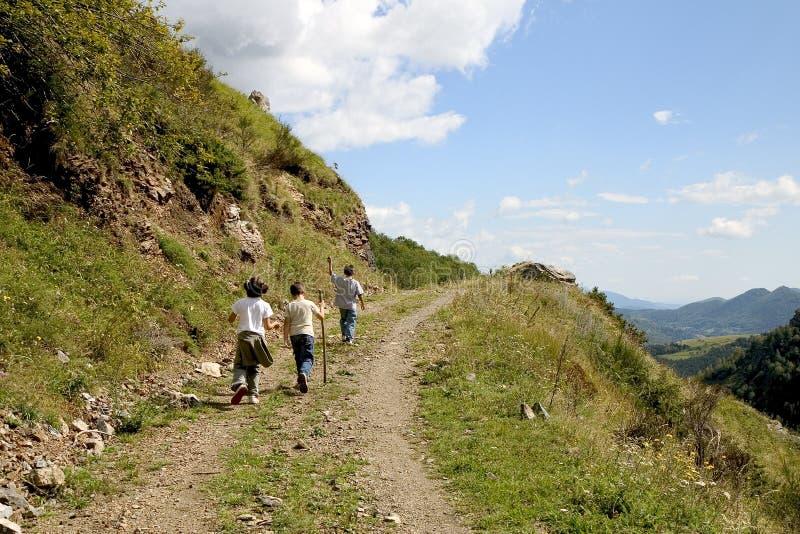 Children hiking stock image